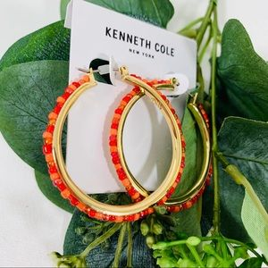 Kenneth Cole Gold Tone Red/Orange Hoops NWT